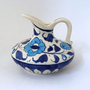 Other - Multani Hand Painted Small Pottery Pitcher Flowers